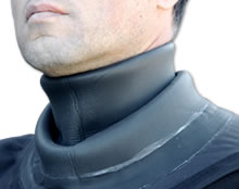 Fold a neoprene neck seal inwards